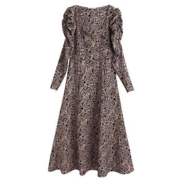 Animal Print Dress - Maxi Dress - Brown/Black - S / Small