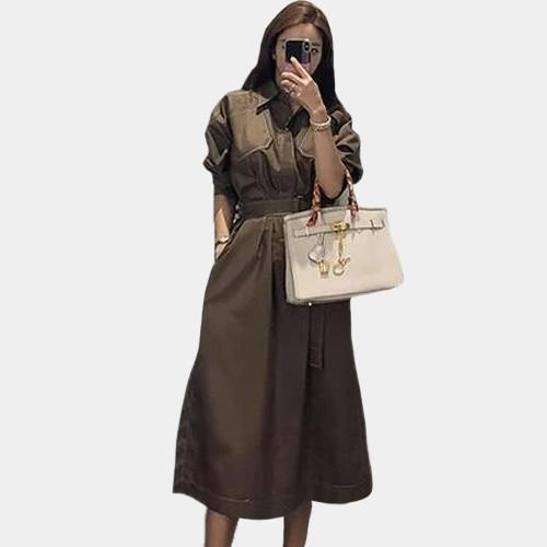 Belted Maxi Dress - Long Sleeve - Brown - L / Large