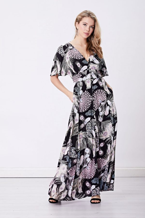 Black Feather Maxi Shirt Dress