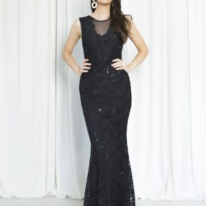 Black Sheer Front Maxi Dress