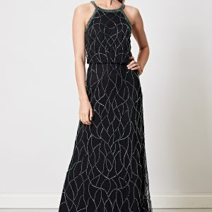 Black with Green Embellished Cami Maxi Dress