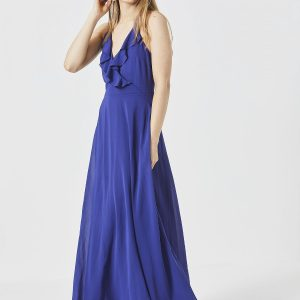 Blue Ruffled Maxi Dress