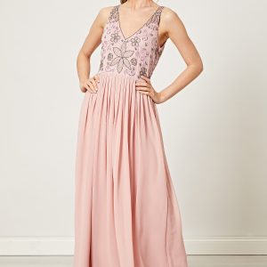 Dusty Pink Embellished Sequin Maxi Dress