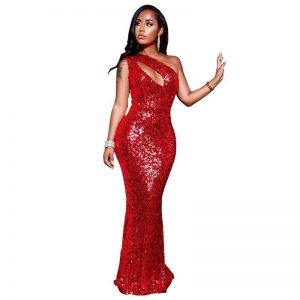 Glam Sequin One-shoulder Dress - Mermaid Maxi - Red - 2Xl / Large / Extra Large