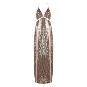 Gold Sequined Maxi Party Dress - Gold - Xs / Extra Small / Small