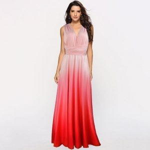 Gradient Multiway Dress - Convertible Maxi - Red - L / Large