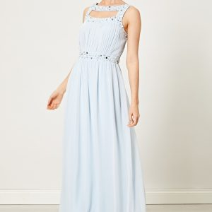 Light Pastel Blue Embellished Maxi Dress