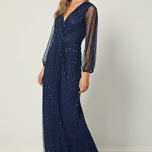 Navy Long Mesh Sleeve Maxi Dress