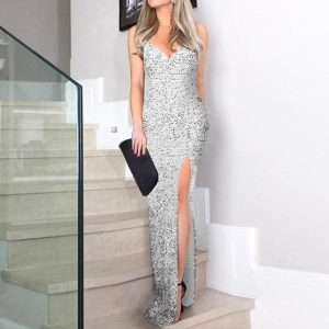 Sequin Dress - Front Split - Spaghetti Strap - Maxi - Silver - Xl / Large / Extra Large