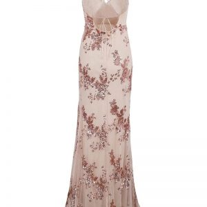 Sequin Maxi Dress With Side Split - Beige - Xl / Large / Extra Large