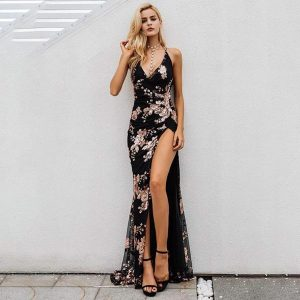 Sequin Maxi Dress With Side Split - Black - S / Small