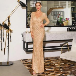 Sequin Maxi Dress With Split - Long Sleeve - Gold - L / Large