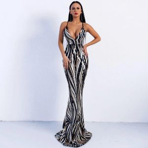 Sequin Maxi Gown Dress With Mermaid Train - Black - L / Large