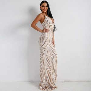 Sequin Maxi Gown Dress With Mermaid Train - Gold - L / Large