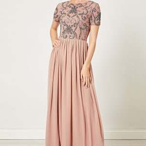 Taupe Embellished Sequin Maxi Dress