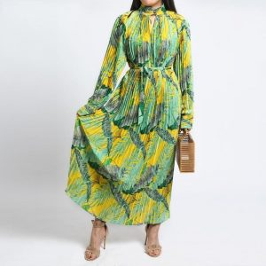 Vintage Boho Maxi Dress - Pleated - Long Sleeve - Green/Yellow - One Size / Small