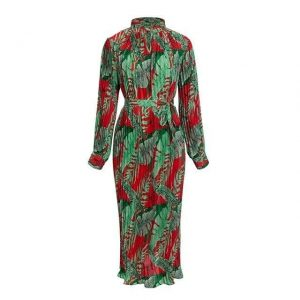 Vintage Boho Maxi Dress - Pleated - Long Sleeve - Red/Green - One Size / Small