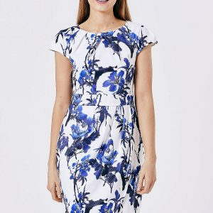 White and Blue Floral Fitted Dress