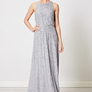 Silver Sequin Beaded Maxi Dress